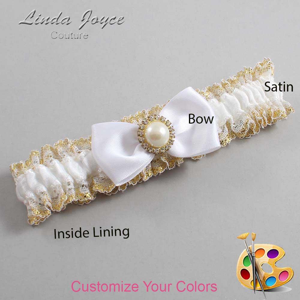 Customizable Wedding Garter / Kendra #04-B31-M21-Gold