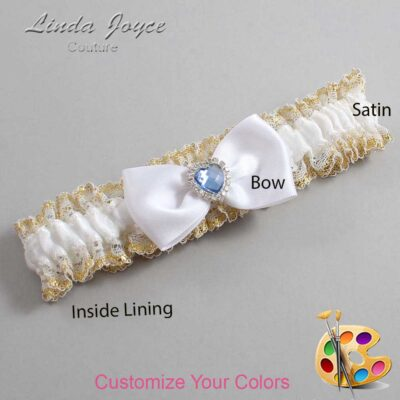 Customizable Wedding Garter / Judy #04-B31-M25-Silver-Light-Sapphire