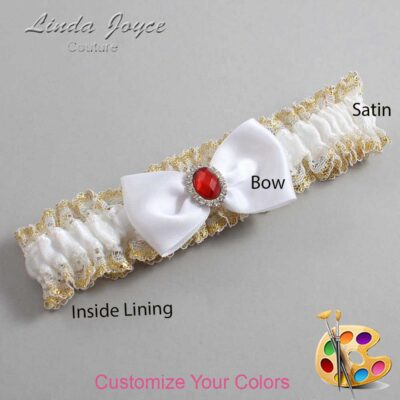 Customizable Wedding Garter / Gayla #04-B31-M26-Silver-Ruby