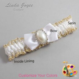 Customizable Wedding Garter / Mindy #04-B31-M31-Silver