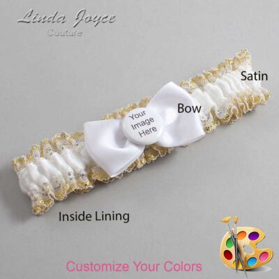 Couture Garters / Custom Wedding Garter / Customizable Wedding Garters / Personalized Wedding Garters / Custom Button #04-B31-M44 / Wedding Garters / Bridal Garter / Prom Garter / Linda Joyce Couture