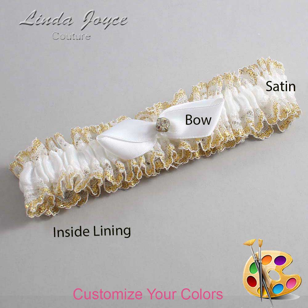 Customizable Wedding Garter / Trudy #04-B41-M03-Gold