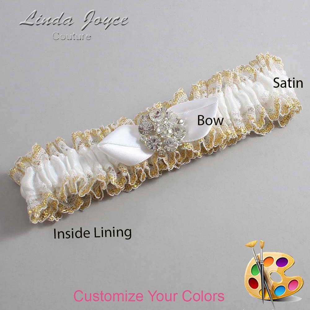 Customizable Wedding Garter / Yvette #04-B41-M11-Silver