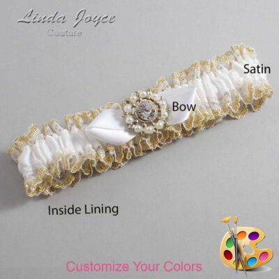 Customizable Wedding Garter / Drew #04-B41-M14-Silver