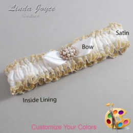 Customizable Wedding Garter / Tonya #04-B41-M16-Gold