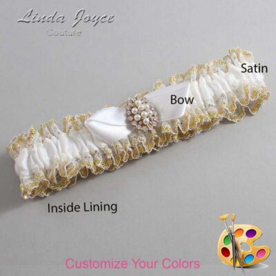 Customizable Wedding Garter / Suellen #04-B41-M17-Gold