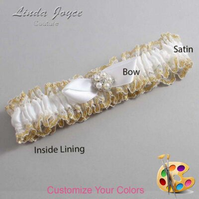 Couture Garters / Custom Wedding Garter / Customizable Wedding Garters / Personalized Wedding Garters / Clara #04-B41-M20 / Wedding Garters / Bridal Garter / Prom Garter / Linda Joyce Couture