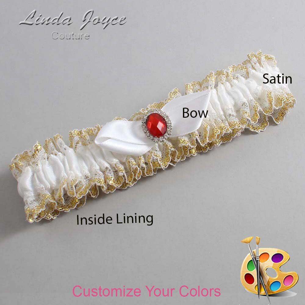 Customizable Wedding Garter / Cindy #04-B41-M26-Silver-Ruby