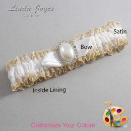 Customizable Wedding Garter / Sonya #04-B41-M31-Silver