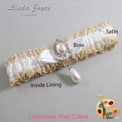 Customizable Wedding Garter / Clarissa #04-B41-M32-Silver