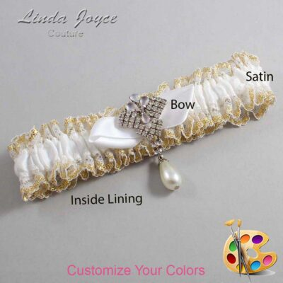 Couture Garters / Custom Wedding Garter / Customizable Wedding Garters / Personalized Wedding Garters / Claudette #04-B41-M33 / Wedding Garters / Bridal Garter / Prom Garter / Linda Joyce Couture