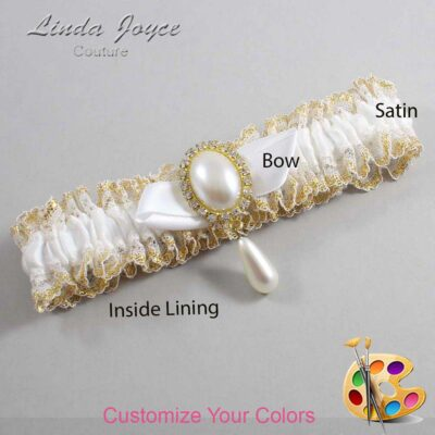 Couture Garters / Custom Wedding Garter / Customizable Wedding Garters / Personalized Wedding Garters / Sybil #04-B41-M34 / Wedding Garters / Bridal Garter / Prom Garter / Linda Joyce Couture