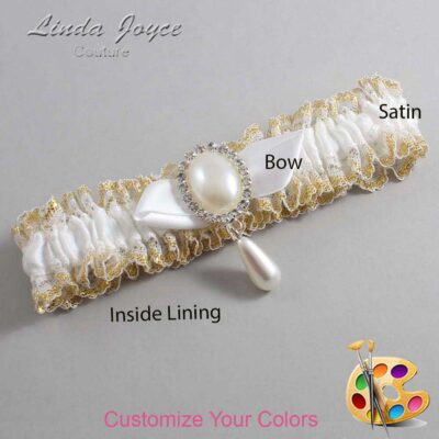 Couture Garters / Custom Wedding Garter / Customizable Wedding Garters / Personalized Wedding Garters / Sybil #04-B41-M35 / Wedding Garters / Bridal Garter / Prom Garter / Linda Joyce Couture