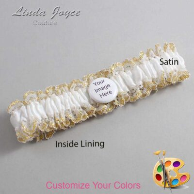 Couture Garters / Custom Wedding Garter / Customizable Wedding Garters / Personalized Wedding Garters / Custom Button #04-M44 / Wedding Garters / Bridal Garter / Prom Garter / Linda Joyce Couture