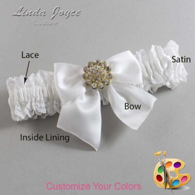 Customizable Wedding Garter / Penny #06-B01-M12-Gold