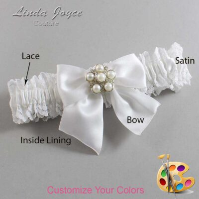 Customizable Wedding Garter / Monica #06-B01-M13-Silver