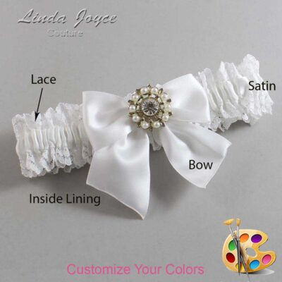 Customizable Wedding Garter / Adelle #06-B01-M14-Silver