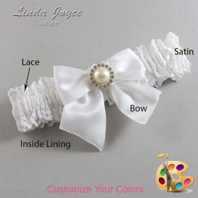 Customizable Wedding Garter / Paige #06-B01-M22-Silver
