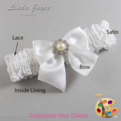 Customizable Wedding Garter / Amanda #06-B01-M24-Silver