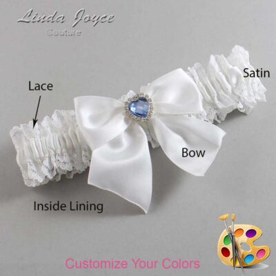 Customizable Wedding Garter / Kittie #06-B01-M25-Silver-Light-Sapphire