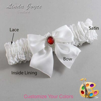 Customizable Wedding Garter / Danita #06-B01-M26-Silver-Ruby