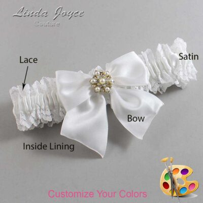 Customizable Wedding Garter / Larissa #06-B01-M27-Silver
