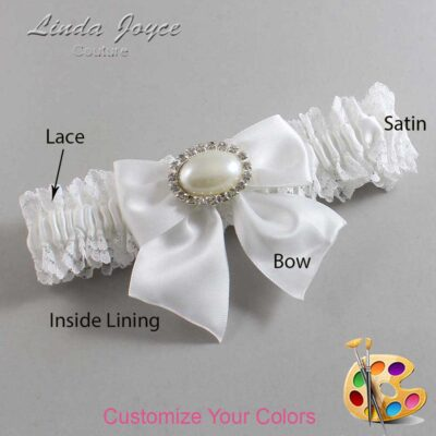 Customizable Wedding Garter / Nicole #06-B01-M30-Silver