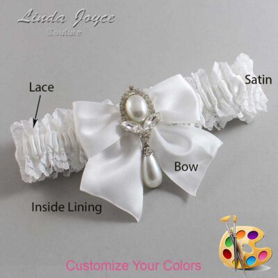 Customizable Wedding Garter / Jessica #06-B01-M32-Silver