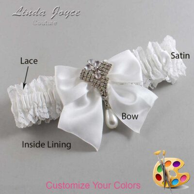 Customizable Wedding Garter / Madeline #06-B01-M33-Silver