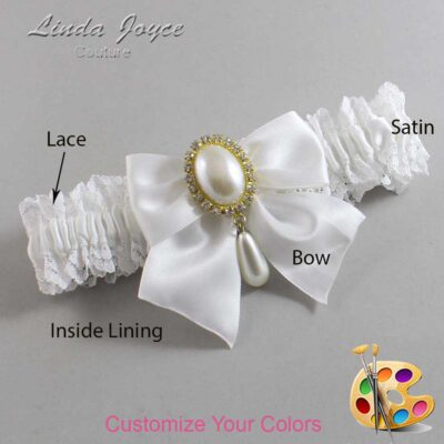 Customizable Wedding Garter / Michaela #06-B01-M34-Gold