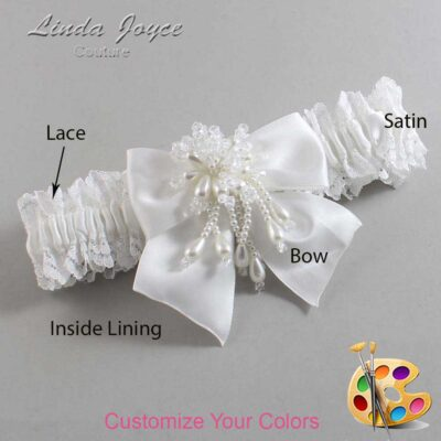 Customizable Wedding Garter / Daphne #06-B01-M38-Pearl