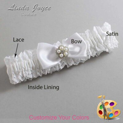 Couture Garters / Custom Wedding Garter / Customizable Wedding Garters / Personalized Wedding Garters / Laureen #06-B31-M20 / Wedding Garters / Bridal Garter / Prom Garter / Linda Joyce Couture