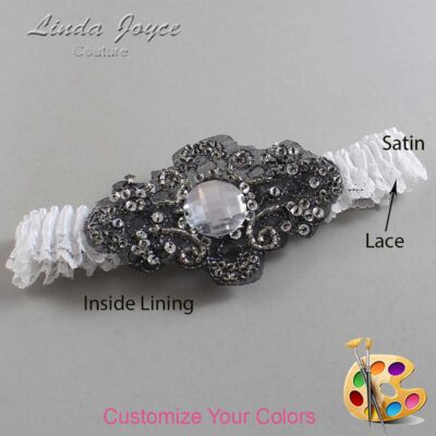 Couture Garters / Custom Wedding Garter / Customizable Wedding Garters / Personalized Wedding Garters / Bijou # 09-A02-Black / Wedding Garters / Bridal Garter / Prom Garter / Linda Joyce Couture