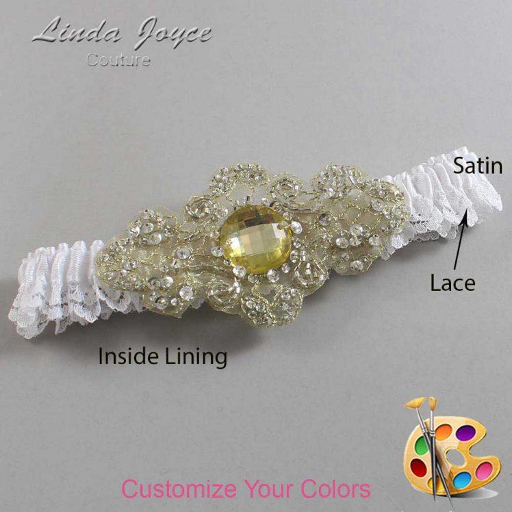 Couture Garters / Custom Wedding Garter / Customizable Wedding Garters / Personalized Wedding Garters / Bijou # 09-A03-Gold / Wedding Garters / Bridal Garter / Prom Garter / Linda Joyce Couture