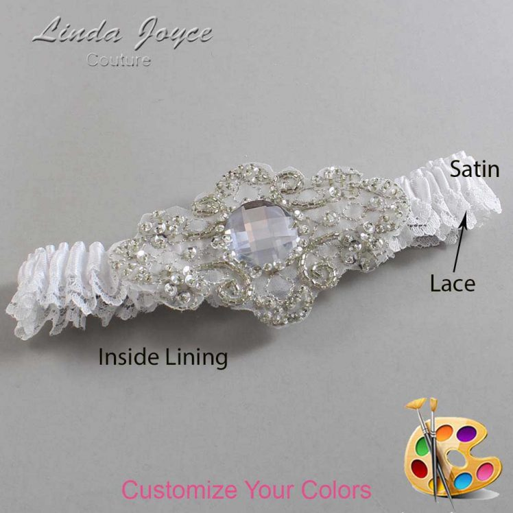 Couture Garters / Custom Wedding Garter / Customizable Wedding Garters / Personalized Wedding Garters / Bijou # 09-A04-Silver / Wedding Garters / Bridal Garter / Prom Garter / Linda Joyce Couture