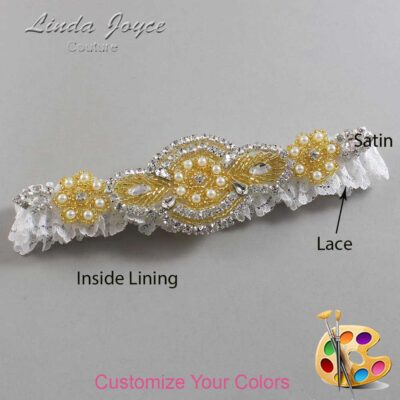 Couture Garters / Custom Wedding Garter / Customizable Wedding Garters / Personalized Wedding Garters / Charlotte # 09-A05-Gold / Wedding Garters / Bridal Garter / Prom Garter / Linda Joyce Couture