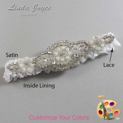 Couture Garters / Custom Wedding Garter / Customizable Wedding Garters / Personalized Wedding Garters / Charlotte # 09-A06-Silver / Wedding Garters / Bridal Garter / Prom Garter / Linda Joyce Couture