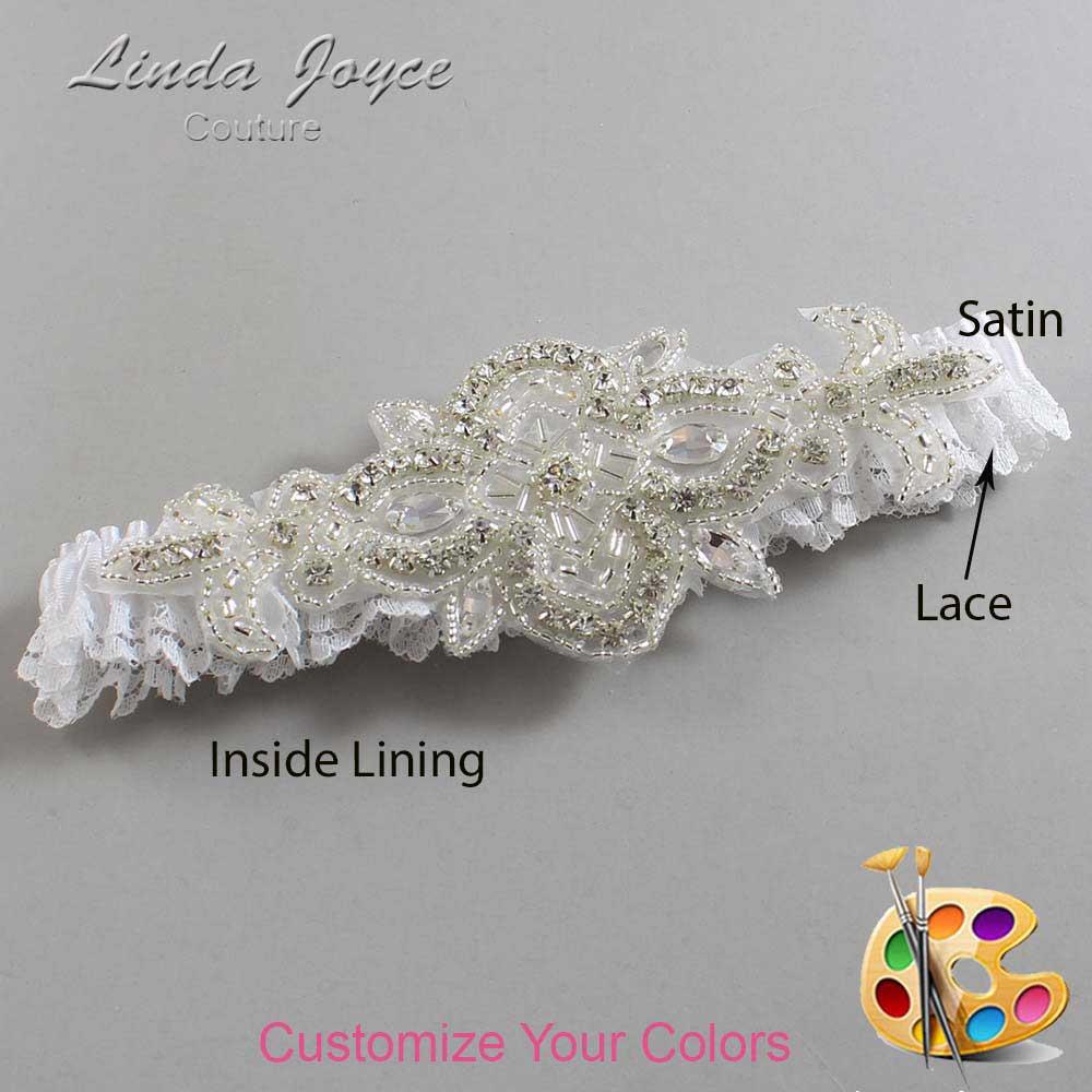 Couture Garters / Custom Wedding Garter / Customizable Wedding Garters / Personalized Wedding Garters / Isabella # 09-A08-Silver / Wedding Garters / Bridal Garter / Prom Garter / Linda Joyce Couture