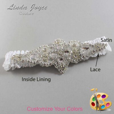 Couture Garters / Custom Wedding Garter / Customizable Wedding Garters / Personalized Wedding Garters / Lorine # 09-A09-Silver / Wedding Garters / Bridal Garter / Prom Garter / Linda Joyce Couture
