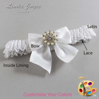 Customizable Wedding Garter / Adelle #09-B01-M14-Silver