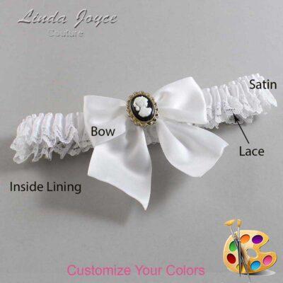 Customizable Wedding Garter / Amy #09-B01-M15-Black-Gold