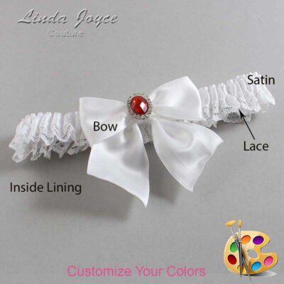 Customizable Wedding Garter / Danita #09-B01-M26-Silver-Ruby