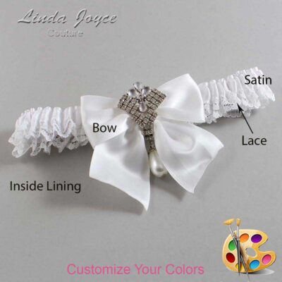 Customizable Wedding Garter / Madeline #09-B01-M33-Silver
