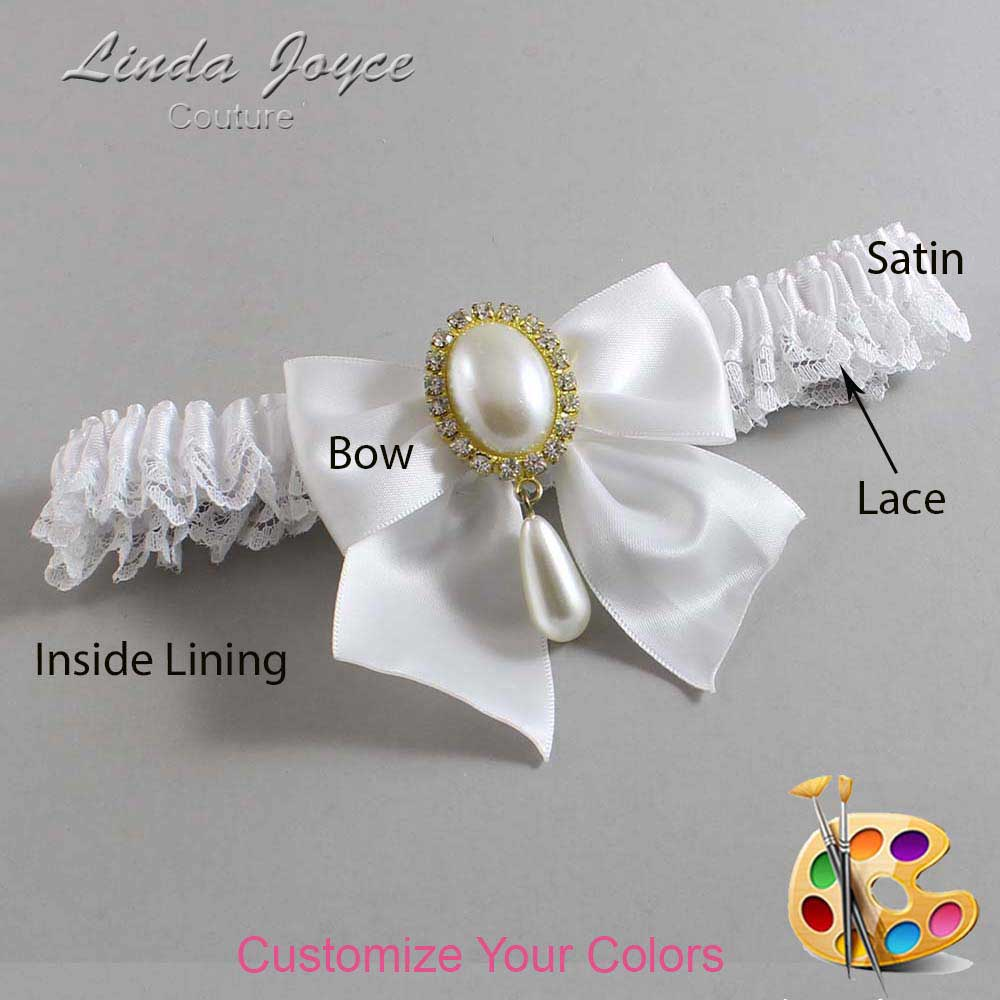 Customizable Wedding Garter / Michaela #09-B01-M34-Gold