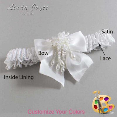 Couture Garters / Custom Wedding Garter / Customizable Wedding Garters / Personalized Wedding Garters / Daphne #09-B01-M38 / Wedding Garters / Bridal Garter / Prom Garter / Linda Joyce Couture