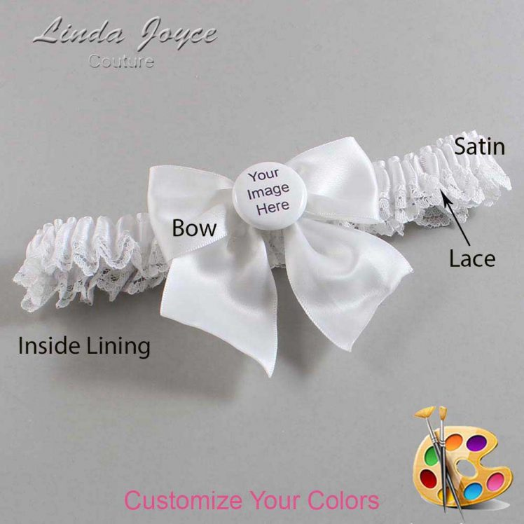 Couture Garters / Custom Wedding Garter / Customizable Wedding Garters / Personalized Wedding Garters / Custom Button #09-B01-M44 / Wedding Garters / Bridal Garter / Prom Garter / Linda Joyce Couture