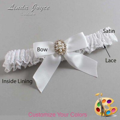 Customizable Wedding Garter / Quinn #09-B02-M17-Gold