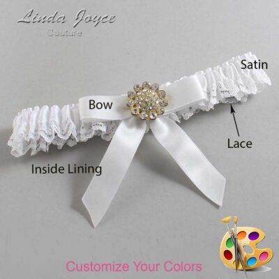 Customizable Wedding Garter / Samantha #09-B03-M12-Gold