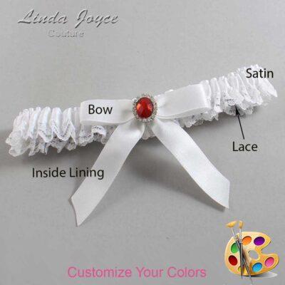 Customizable Wedding Garter / Fran #09-B03-M26-Silver-Ruby