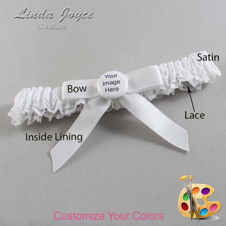Couture Garters / Custom Wedding Garter / Customizable Wedding Garters / Personalized Wedding Garters / Custom Button #09-B03-M44 / Wedding Garters / Bridal Garter / Prom Garter / Linda Joyce Couture